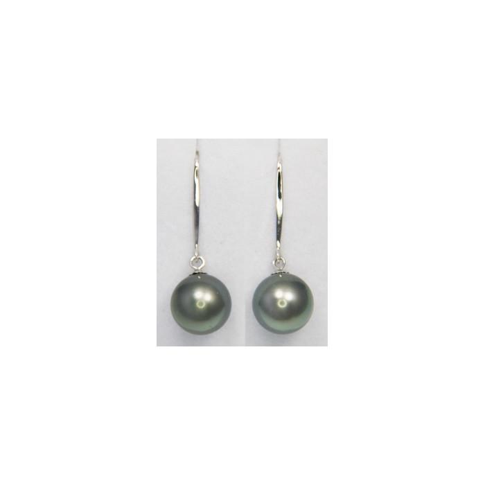 Boucles d`Oreilles Perles de Tahiti 9-10mm AAA Dormeuses