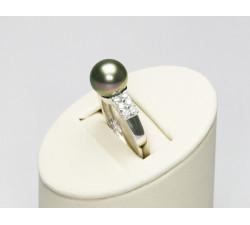 Bague Perle de Tahiti 8.5-9mm Or18ct T56 Qualité Perle AAA