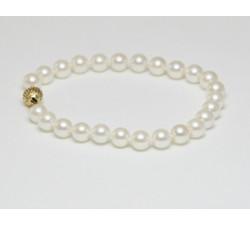 Bracelet Perles de Culture Akoya AAA 7.5mm Long. 18cm Or 14k