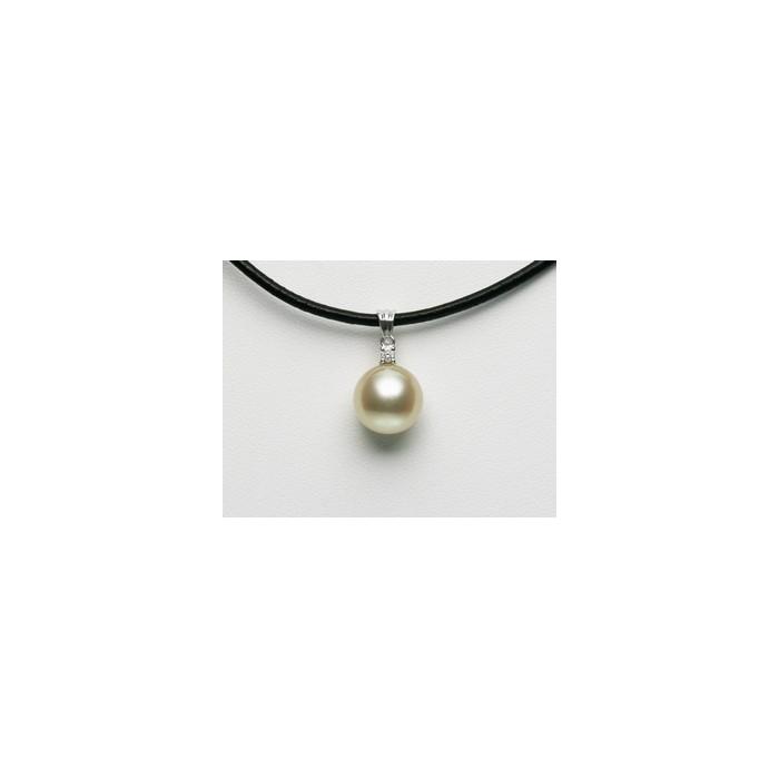 Pendentif Perle Mers du Sud 11.2mm, 1 Diamant, Or 750/1000