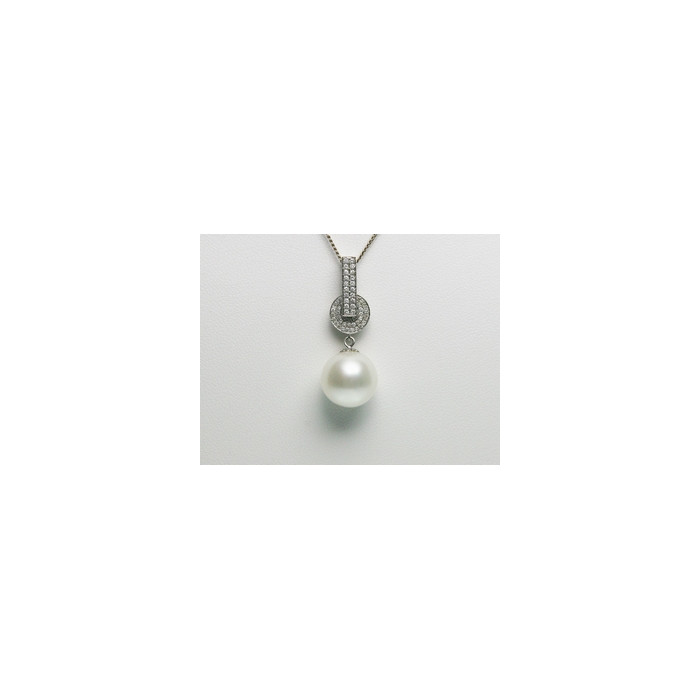 Pendentif Perle Mers du Sud 12.5mm, 70 Diamants, Or 750/1000