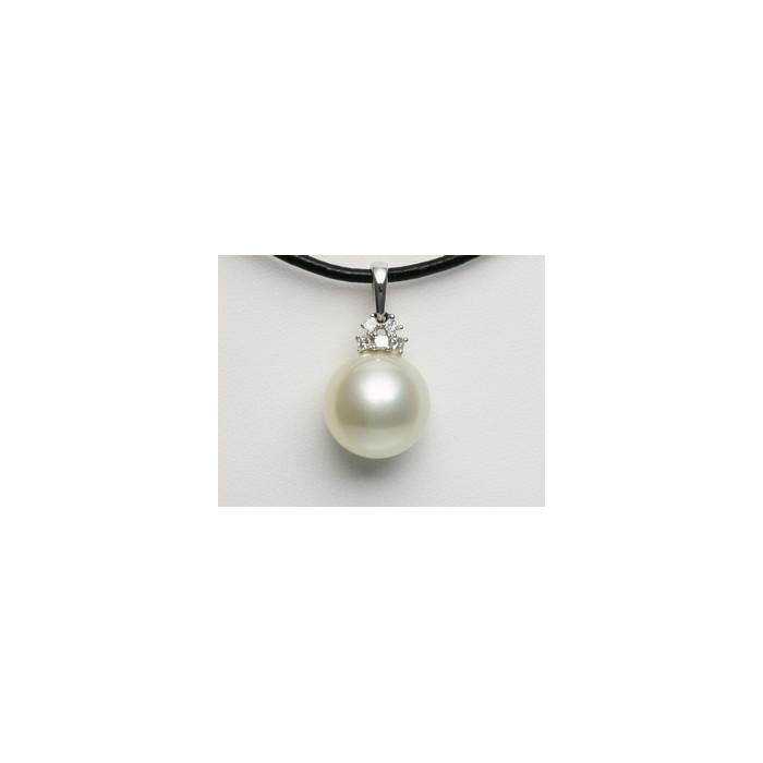 Pendentif Perle Mers du Sud 15mm, 5 Diamants, Or 750/1000