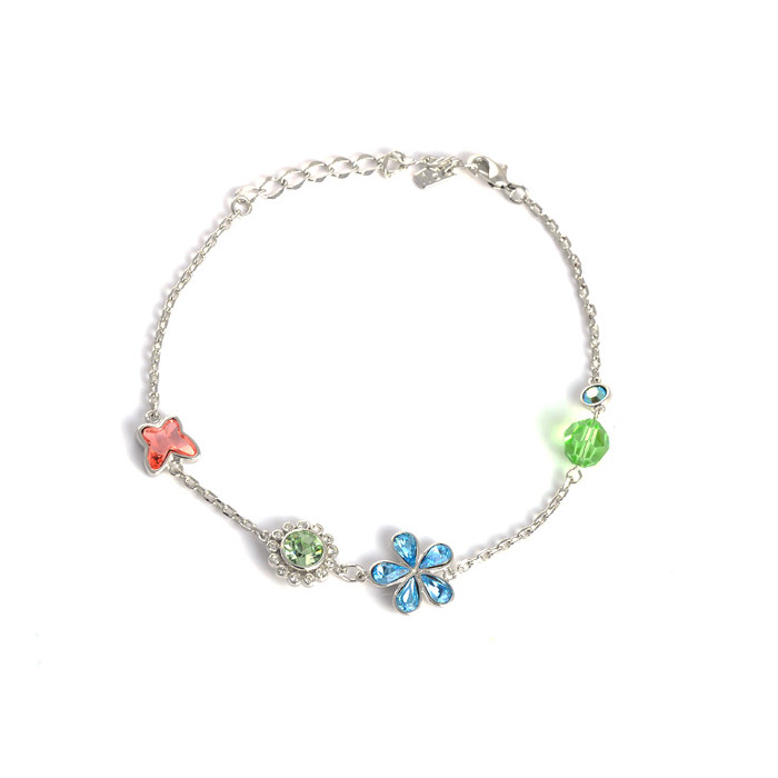 Bracelet Cristaux Swarovski Papillon Fleur Bleue, Rhodium