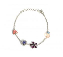 Bracelet Cristaux Swarovski Papillon Fleur Violette, Rhodium