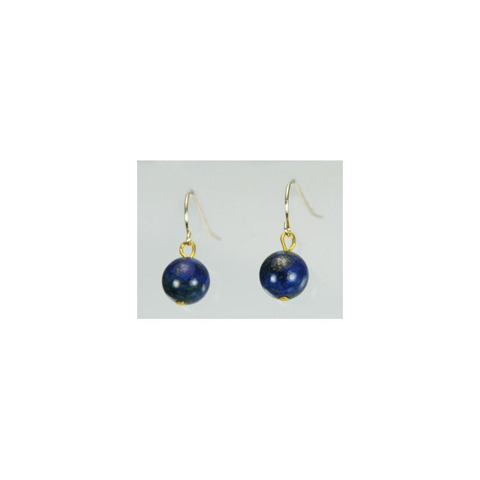 Boucles d`Oreilles Lapis Lazuli 8-9mm Dormeuses Or 585/1000