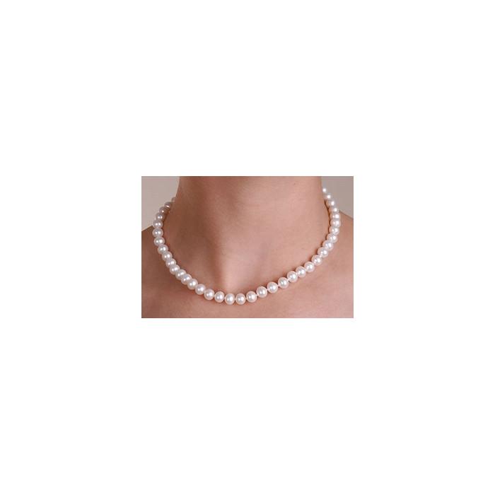 Collier de Perles de Culture Eau Douce Blanc 9mm AA+