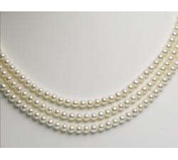 Collier de Perles de Culture Eau Douce 3 Rangs 6 à 7mm Blanc