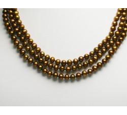Collier de Perles de Culture Eau Douce 3 Rangs 6-7mm Bronze