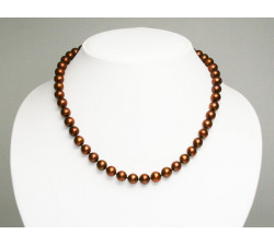Collier de Perles de Culture Eau Douce Chocolat 8.5mm AA+