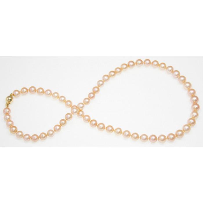 Collier de Perles de Culture Eau Douce Pêche 7mm AA+ Ag 925