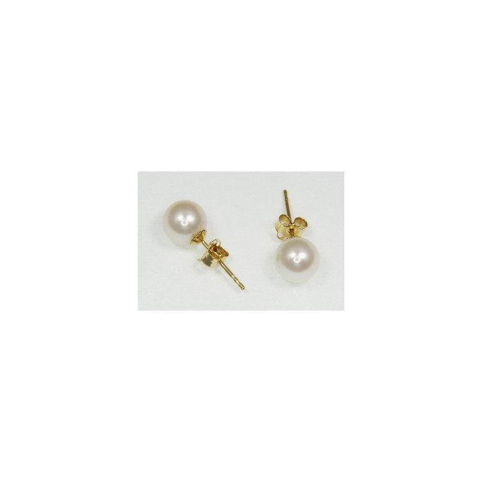 Boucles d'Oreilles Perles de Culture 7.5mm Blanc AAA Or 18ct