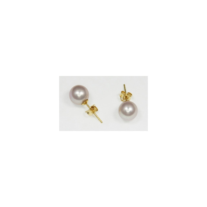 Boucles d`Oreilles Perles de Culture 7.5mm Lavande AAA Or18k