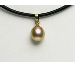 Pendentif Perle de Culture Lavande-Doré 8.5-9mm Or 750/1000 (18k)